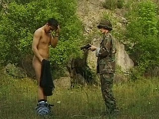 Breasty brunette soldier catches a dude and blows and bangs for messy facial