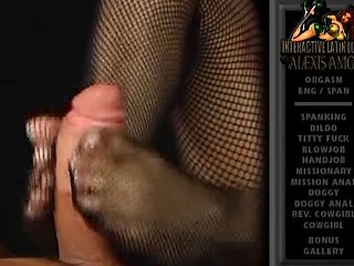 Sexy Latina babe Alexis Amore gives a footjob with her feet in fishnets