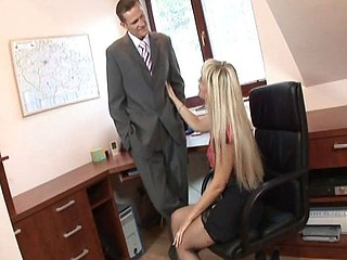 Slutty secretary with long blonde hair gets hammered by the boss then the handyman