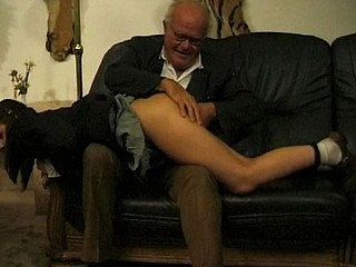 Old lad and dorky lad acquire this busty brunette to eat cock and bang in threesome