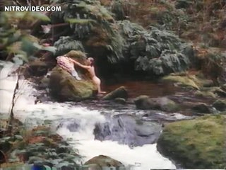 Hot Sandra Hess Taking a Bath in a Natural Pool
