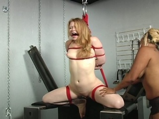 Helpless blonde abused by horny female-dominant