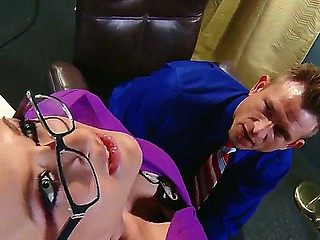 Gracious boss Bill Bailey gets seduced by smokin' sexy golden-haired secretary Leya Falcon in arousing fishnet nylons