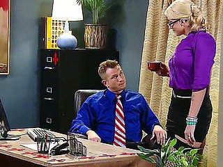 Handsome boss Bill Bailey gets seduced by smoking hot blonde secretary Leya Falcon in arousing fishnet nylons