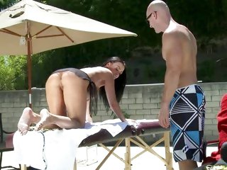 Titillating Vanilla DeVille gets lotion rubbed into the brush butt