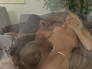 Jordan S giving hot cunilingus to blond chick Seth Gamble, she pushes his head hard to her cunt in passion and sucks his cock