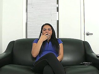 Breasty dark brown Rikki Nyx goes to a porn casting where she begins to obtain naked