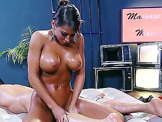 Amazing promoter Madison Ivy plays a horny masseuse, oiling herself and her partner Toni Ribas and seducing him