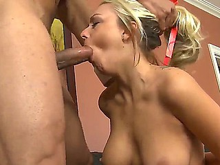 Breasty blonde Briana Blair invited her sport coach Carlo Carrera for a relaxation training