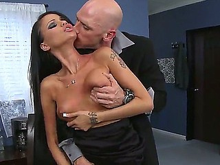Sweetmeat brunette babes Audrey Bitoni coupled with Raven Pigeon-hole made sex party for three-some with Johnny Sins
