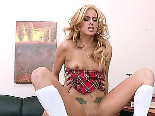 Tattooed college girl Nikki Seven with miniature natural boobs is smacked hard by her sexy ally Mick Blue