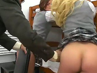 Hawt teacher with a large dick is punishing his two students Faye Reagan and Lily Carter