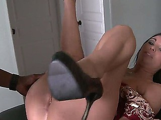 Have a fun deepthroat skills of amazing subfuscous babe High-priced White sucking big deadly schlong