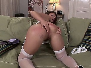 Arousing hottie Johanne Johansson pleases her wishes with a magic solo masturnating session