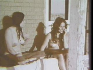 Pigtailed Brunette Slut Sucks Weenie in a Porch - Vintage Porn Scene