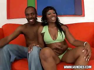 Big butt ebony woman shakes her ass, then sucks and get fucked.