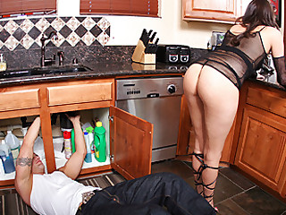 Derrick was fixing the garbage disposal, when Missy was walking around the kitchen, obviously being in the way so this guy could notice her. He couldn't keep his eyes off her luscious booty and she noticed each minute of it. Finally giving in, she let him touch it, but big mistake... That babe had no idea Derrick was a big booty dominator... this guy made her do whatever this guy wanted and made her love each second.