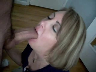 Wife gives blowjob until big rod cums
