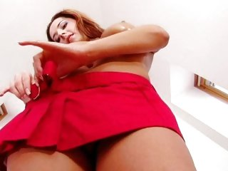 Delicious Daria Glower takes off her mini skirt