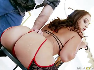 Curvy french woman Liza Del Sierra  with big bubble butt and moist tits wears hawt stockings. She's irresistibly sexy. See one lucky man drill her adorable european ass.