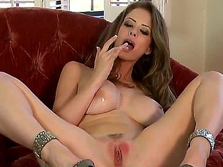 Adorable Emily Addison fingers her wet crack