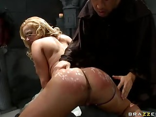 Sexy undressed blonde Shyla Stylez is the one for ass sacrifice. She gets her sexy bottom prepared for the ceremony and then finds her butthole filled with rock solid pulsating penis of horny Keiran Lee.