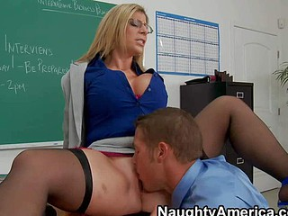 Academician Sara Fiddle around is a horny older doll with massive