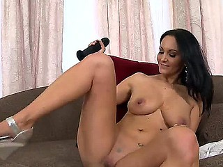 Black haired with the addition of arousing milf Ava