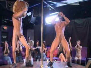 Horny Babes Eating Some Stripper Penis