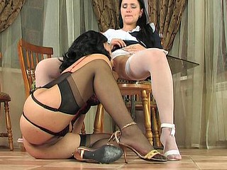 Shy coed in white nylons summoned to the bus learning lesbo tricks