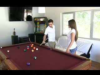 Abby Cross tried to pay attention to her boyfriend's billiard skills but all this babe wanted was his hard dick in her holes. Watch her sexy grinding style when this babe bonks, and watch how that babe laps up cum like a good little jizz swallower.