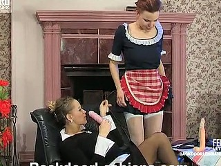 Voluptuous sappho making a French maid ready for harsh strap-on booty-fucking