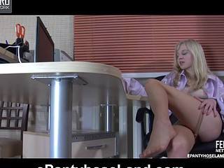Blonde secretary puts her pantyhose clad legs on the desk for marital-device toying