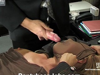 Horny boss gives his sec a fresh task stuffing his dong into pantyhosed mouth