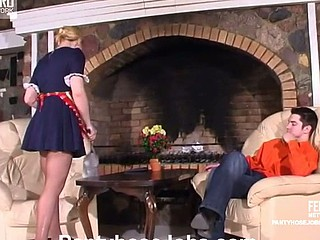 Lewd French maid showing a guy various tricks with her smooth hose