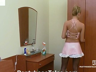 French maid in control top pantyhose can