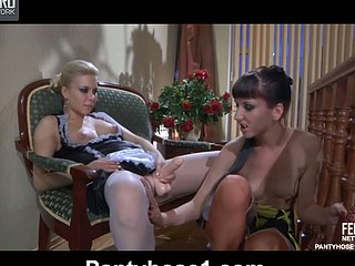 Madeleine&Virginia pantyhosing on movie scene