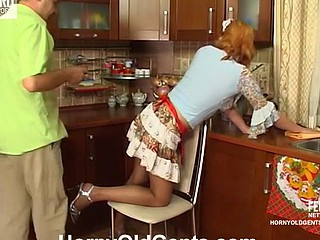 French maid makes passes at her older boss engulfing increased by jumping on pecker