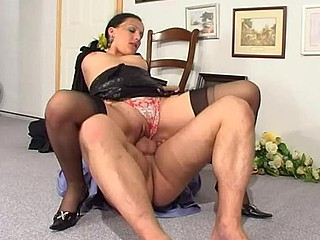 Filthy security taking a pecker-break with a lusty brunette hair hair in darksome stockings