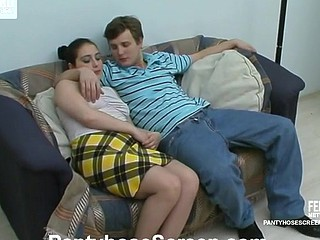 Molten cutie in silky tights tantalizing her boyfriend into doggystyle fuck