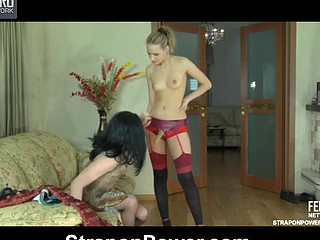 Sultry strap-on armed gal in red stockings showing sissy dude who has the force