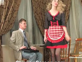 Hawt French maid taking advantage of the opportunity to strap-on fuck a fellow