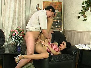Lusty Lothario in satiny pantyhose savouring evermore minute of hard screwing