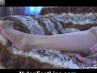 Madeleine showing her nylon feet