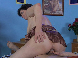 Salacious mommy mounts a rock firm rod for steamy ass fucking after 69 oral-stimulation foreplay