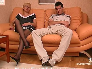 Sexy blondie in dark hose giving maddest footjob and breathtaking oral