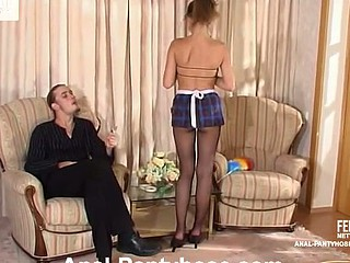 French maid teasing guy with her sexy hose previous to frantic a-hole-cramming