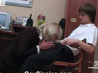 Excited sissy secretary getting his ass reamed and rammed right at lunch hour