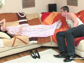 Asleep pantyhosed ungentlemanly begins her day with foot massage and immoral banging