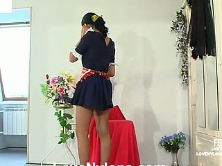 Gorgeous French maid in plain acme stockings worshipped increased by humped by a slavemaster
